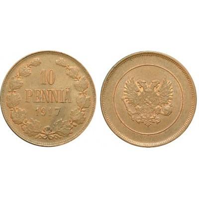 Монета 10 пенни 1917 года (без короны)  Финляндия в составе Российской Империи (арт н-50545)