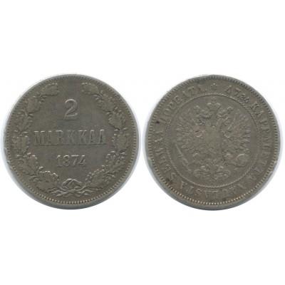 Монета 2 марки 1874 года (S),  Финляндия в составе Российской Империи