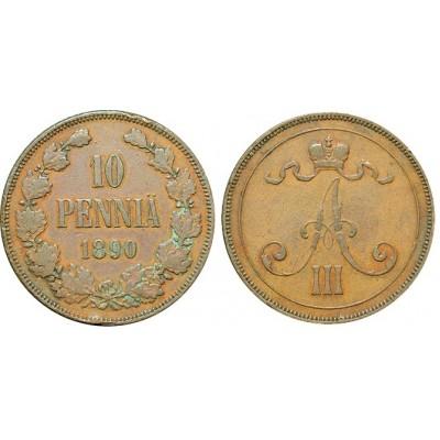 Монета 10 пенни 1890 года  Финляндия в составе Российской Империи (арт н-47493)