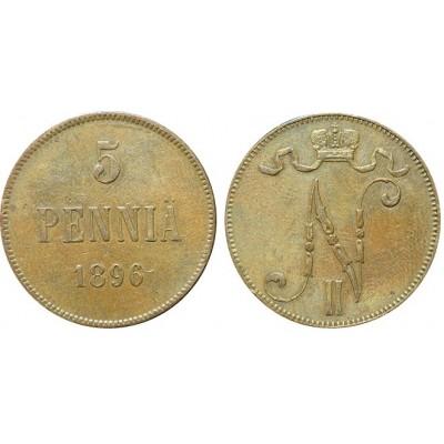 Монета 5 пенни 1896 года  Финляндия в составе Российской Империи (арт н-43389)