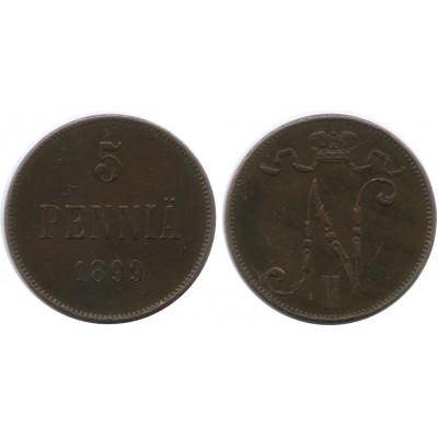Монета 5 пенни 1899 года  Финляндия в составе Российской Империи