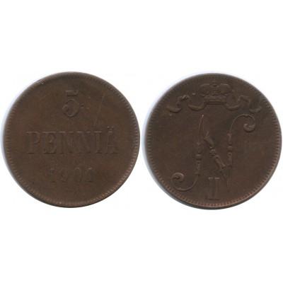 Монета 5 пенни 1901 года  Финляндия в составе Российской Империи