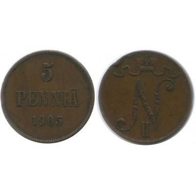 Монета 5 пенни 1905 года  Финляндия в составе Российской Империи