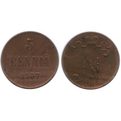 Монета 5 пенни 1907 года  Финляндия в составе Российской Империи