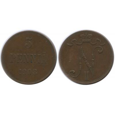Монета 5 пенни 1908 года  Финляндия в составе Российской Империи