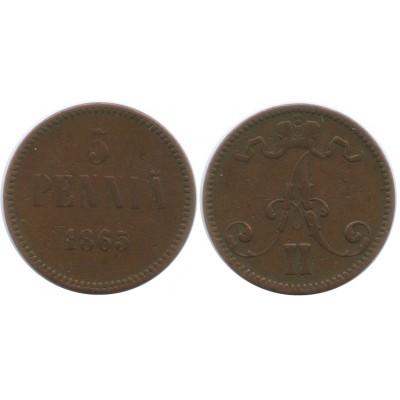 Монета 5 пенни 1865 года  Финляндия в составе Российской Империи