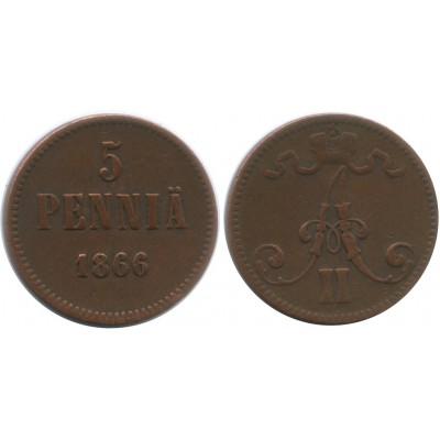 Монета 5 пенни 1866 года  Финляндия в составе Российской Империи