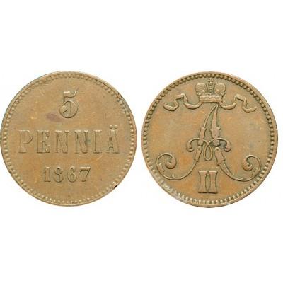 Монета 5 пенни 1867 года  Финляндия в составе Российской Империи (арт н-52857)