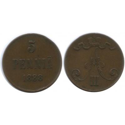 Монета 5 пенни 1888 года  Финляндия в составе Российской Империи