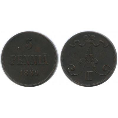 Монета 5 пенни 1889 года  Финляндия в составе Российской Империи