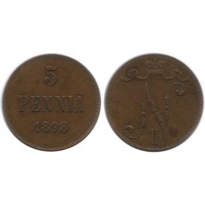 Монета 5 пенни 1898 года  Финляндия в составе Российской Империи