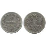 Монета 25 пенни 1906 года (L),  Финляндия в составе Российской Империи