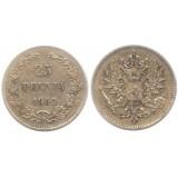 Монета 25 пенни 1909 года (L),  Финляндия в составе Российской Империи