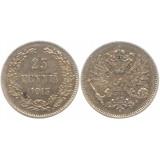Монета 25 пенни 1913 года (S),  Финляндия в составе Российской Империи