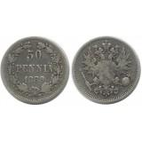 Монета 50 пенни 1889 года (L),  Финляндия в составе Российской Империи