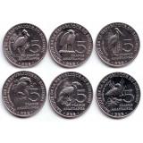 Птицы. Набор монет Бурунди (6 шт.). 5 франков, 2014 год.