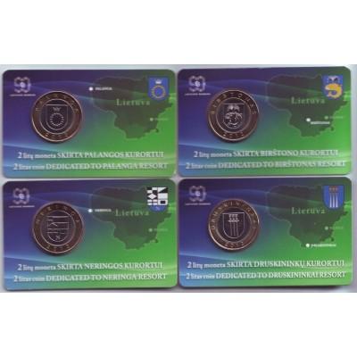 Курорты Литвы. Набор монет в блистерах (4 шт.), 2 лита, 2012 год, Литва.