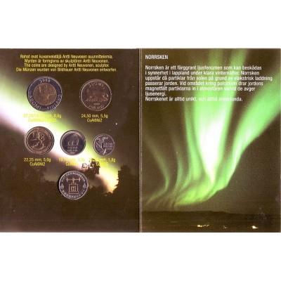 Набор монет Финляндии в буклете (5 шт., с жетоном), 2000 год, Финляндия.
