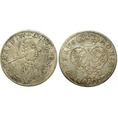 Монета 6 грошей 1723 CG Пруссия, Германия (арт н-59426)