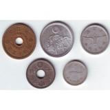 Набор монет Японии времен Второй Мировой Войны, 1938-1946 гг., Япония.
