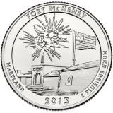 Форт Мак-Генри, национальный памятник и исторический храм. Монета 25 центов (D). 2013 год, США.
