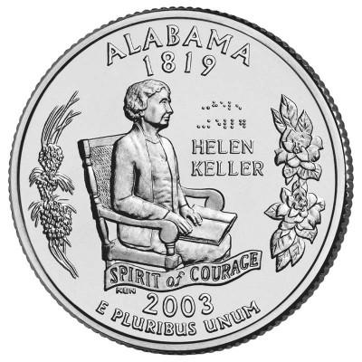 Алабама. Монета 25 центов (D). 2003 год, США.