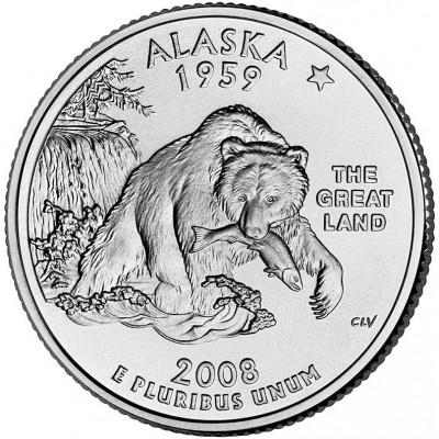 Аляска. Монета 25 центов (P). 2008 год, США.