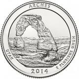 Национальный парк Арки. Монета 25 центов (D). 2014 год, США.