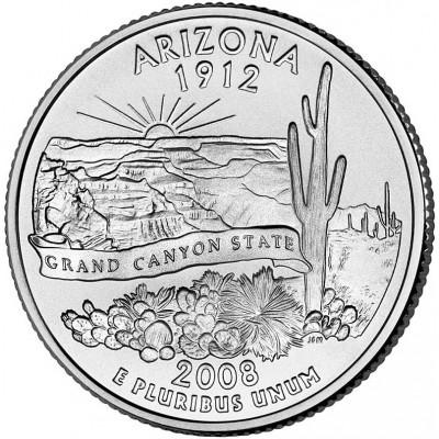 Аризона. Монета 25 центов (P). 2008 год, США.