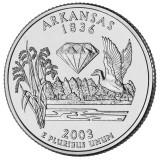 Арканзас. Монета 25 центов (D). 2003 год, США.
