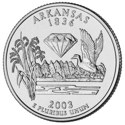 Арканзас. Монета 25 центов (P). 2003 год, США.