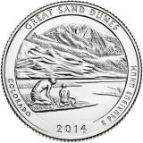 Национальный парк Грейт-Санд-Дьюнс. Монета 25 центов (D). 2014 год, США.