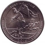 Форт Молтри. Монета 25 центов (D). 2016 год, США.