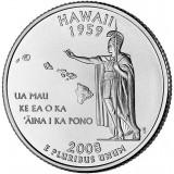 Гавайи. Монета 25 центов (P). 2008 год, США.