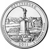 Национальный парк Геттисберг. Монета 25 центов (D). 2011 год, США.