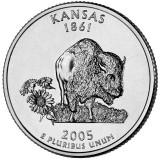 Канзас. Монета 25 центов (D). 2005 год, США.