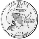 Луизиана. Монета 25 центов (D). 2002 год, США.