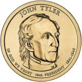 10-й президент США. Джон Тайлер. Монетный двор D. 1 доллар, 2009 год, США.
