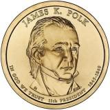 11-й президент США. Джеймс Полк. Монетный двор D. 1 доллар, 2009 год, США.