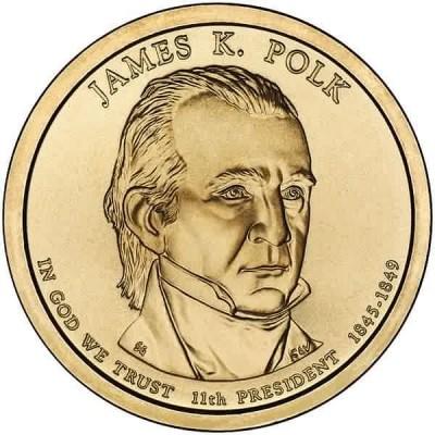 11-й президент США. Джеймс Полк. Монетный двор P. 1 доллар, 2009 год, США.