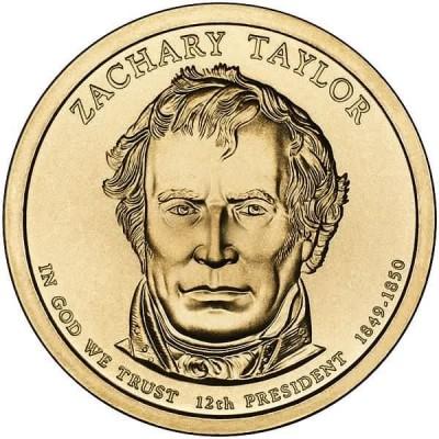 12-й президент США. Закари Тейлор. Монетный двор D. 1 доллар, 2009 год, США.
