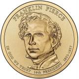 14-й президент США. Франклин Пирс. Монетный двор D. 1 доллар, 2010 год, США.