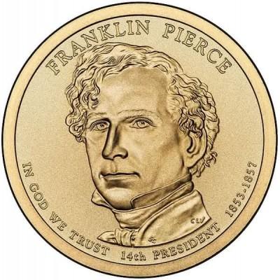 14-й президент США. Франклин Пирс. Монетный двор P. 1 доллар, 2010 год, США.