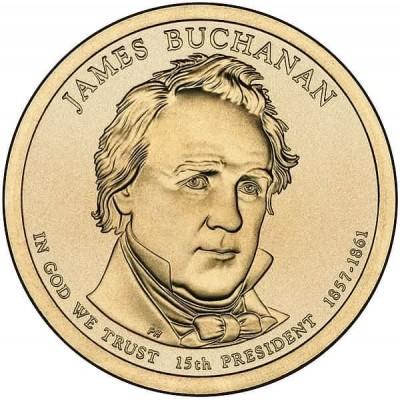 15-й президент США. Джеймс Бьюкенен. Монетный двор P. 1 доллар, 2010 год, США.