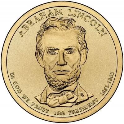 16-й президент США. Авраам Линкольн. Монетный двор D. 1 доллар, 2010 год, США.