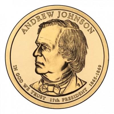 17-й президент США. Эндрю Джонсон. Монетный двор D. 1 доллар, 2011 год, США.
