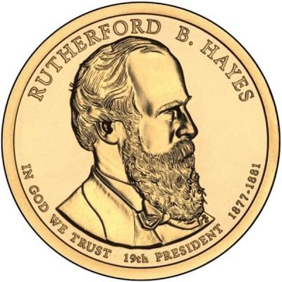 19-й президент США. Резерфорд Б. Хейз. Монетный двор P. 1 доллар, 2011 год, США.