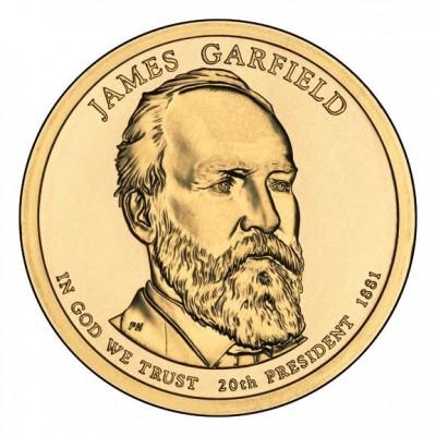 20-й президент США. Джеймс Гарфилд. Монетный двор P. 1 доллар, 2011 год, США.