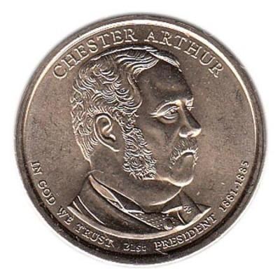 21-й президент США. Честер Артур. Монетный двор P. 1 доллар, 2012 год, США.