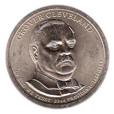 22-й президент США. Гровер Кливленд. Монетный двор D. 1 доллар, 2012 год, США.